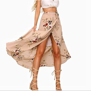 Boho Floral Wrap Skirt